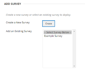 Select an Existing Survey from the list.