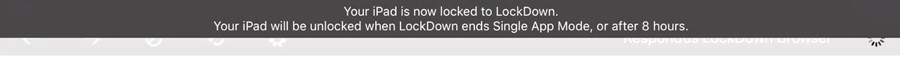 Notification when LockDown Browser is in use.
