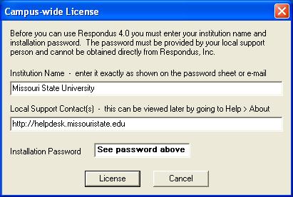 Campus-wide License pop-up