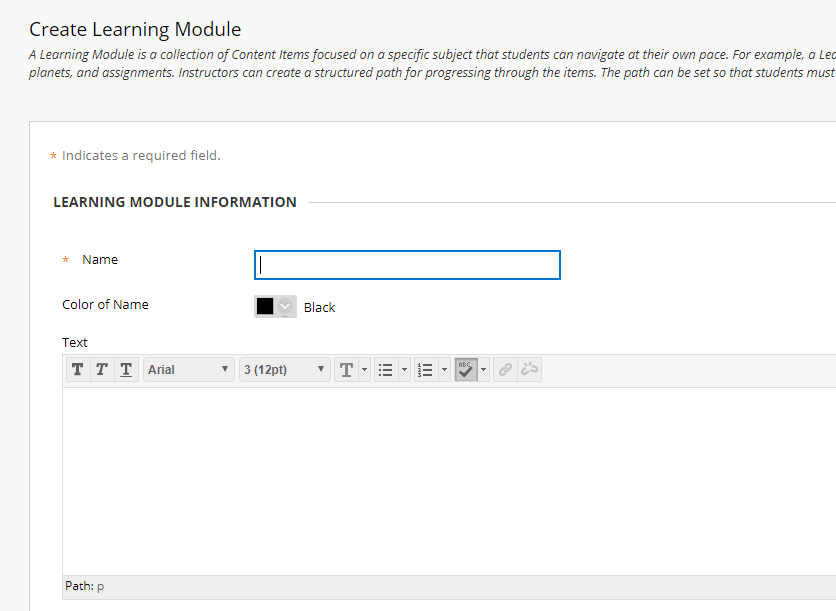 learning module information page