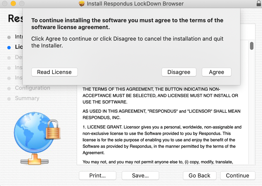 window asking for you to agree or disagree with license agreement
