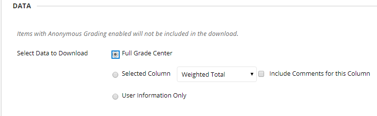 Select the data that you would like downloaded.