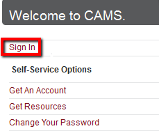 """CAMS website with """"Sign In"""" highlighted."""
