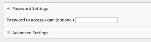 Password settings window