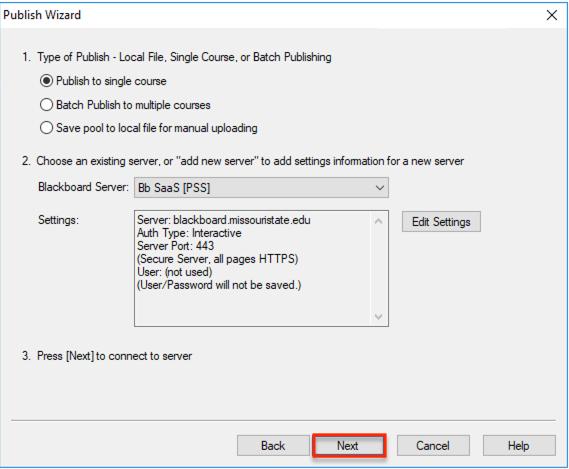 Next button on Publish Wizard pop-up