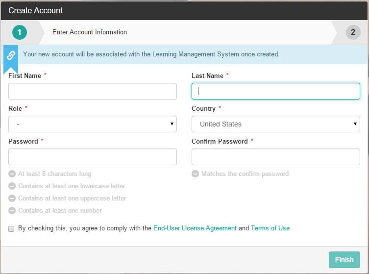 Account creation page with required text fields