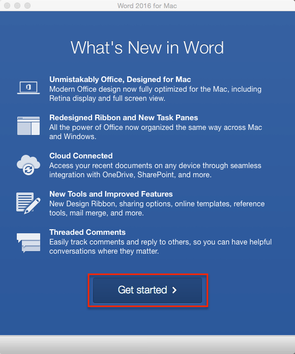 Microsoft Word Get Started Window