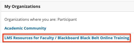 LMS organization link within Blackboard