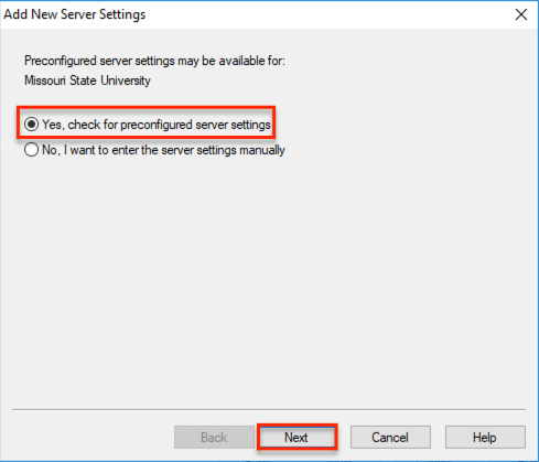 Preconfigured server settings with yes, check for preconfigured server settings high lighted