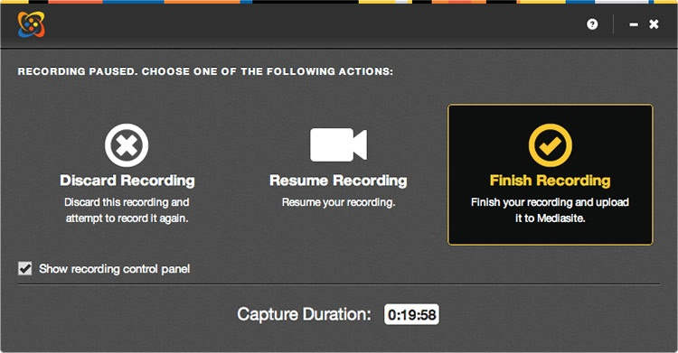 Recording paused, finish recording selected