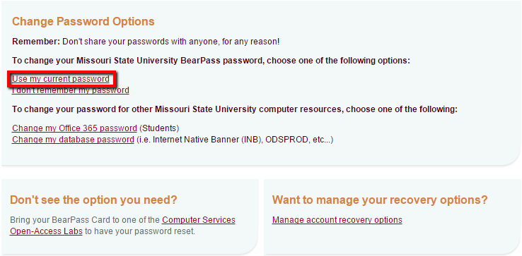 Screenshot of the Change Password Options page.