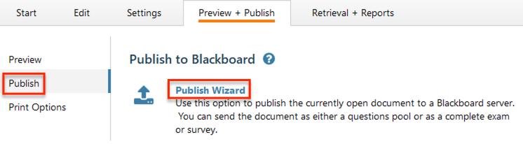 Publish wizard option