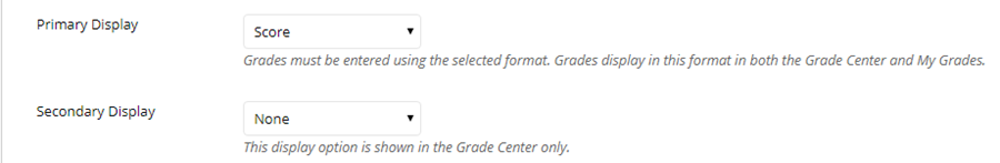 Set the display preferences for the grade.