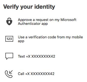 Verify identity options within MFA
