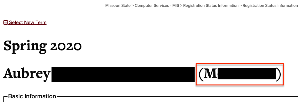 Screenshot of the registration status page showing the M Number