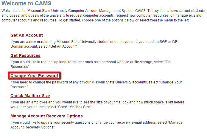 "CAMS website with ""change your password"" highlighted."
