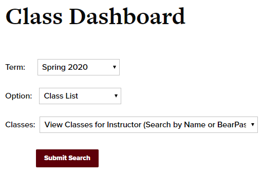 Class dashboard with term, option, and classes drop down menus
