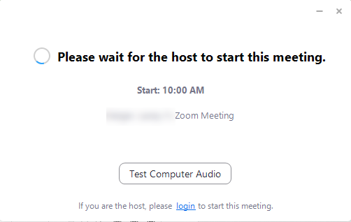window showing the host needs to start the meeting