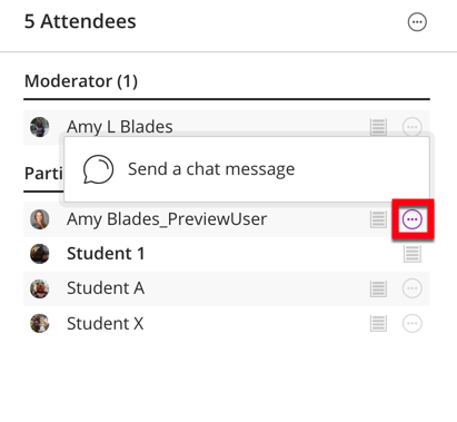 Select send a chat message from the attendees control panel.