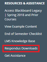 resources and assistance menu in LMS resources for faculty organization