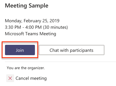 Click the Join button to join the virtual meeting.
