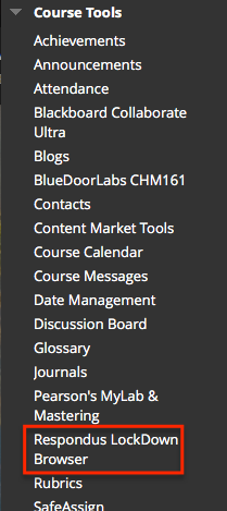 Blackboard control panel with respondus lockdown browser highlighted