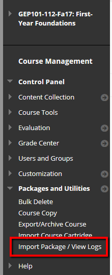 Select Import Package/View Logs from Packages and Utilities in the Control Panel.