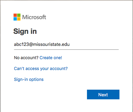 Sign in to Microsoft with Office365 credentials